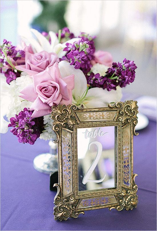 Wedding Ideas: 19 Fabulous Ways to Use Mirrors - wedding table number idea; RomaBea Images via Wedding Chicks