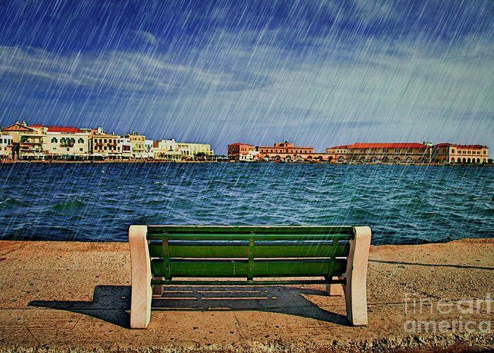 Lonely Bench in Rain Greeting Card by Eleni Mac Synodinos