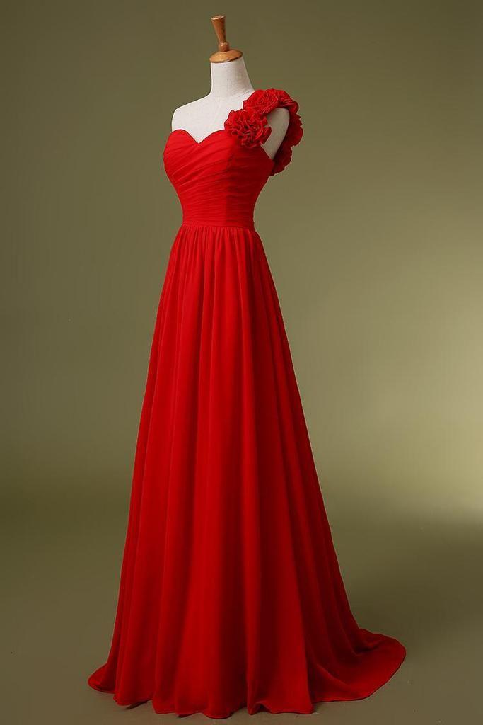 Gorgeous Red Chiffon Handmade One Shoulder Floor Length Prom Dresses 2015, Red Prom Dresses 2015, Formal Dresses , Evening Dresses