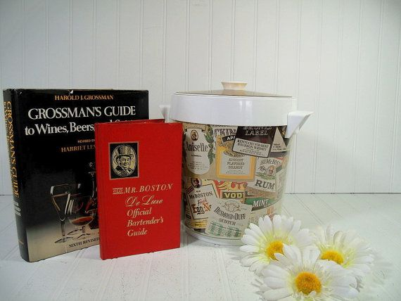 Retro Old Mr. Boston Ice Bucket with Official Bartenders Guide & Grossmans Guide to Wines Beers Spirits - Vintage Large Ice Bin 2 Books Set $68.00 by DivineOrders