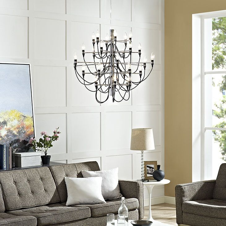 "Starbright Chandelier, Black - Invite a coordinated display of lights into your room with the Starbright chandelier. Comprised of an orchestrated array of thirty lights, Starbright presents a complete symphony of radiance in an inspiring piece to shine on all occasions. Starbright is constructed of chrome plated metal and hangs from an adjustable 39"" cord. Set Includes: One - Starbright Chandelier. Material: metal chrome plating Electrical wire : 63in  Steel wire: 53in. Weight: 12. Assembly…"
