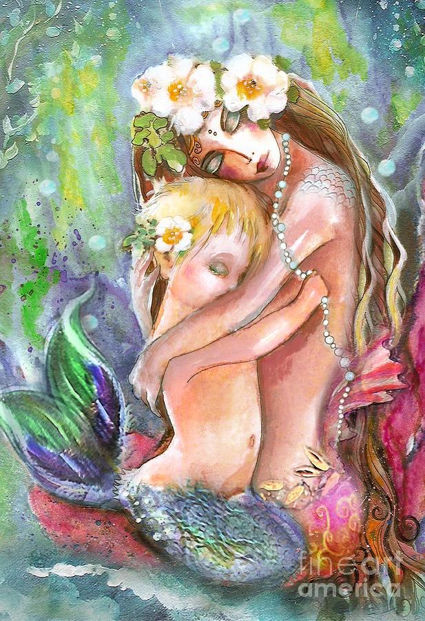 No More Bad Dreams Painting - No More Bad Dreams Fine Art Print - Robin Pushay: Canvas Ideas, Tattoo Ideas, Mystical Mermaids, Mothers, Mermaids Siren, Art Prints, Arielle S Mermaids, Art Mermaids, Painting