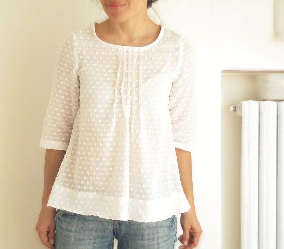 White women's pleated blouse, japanese style top, cotton pleated shirt. Sizes S, M, L. Made to order.