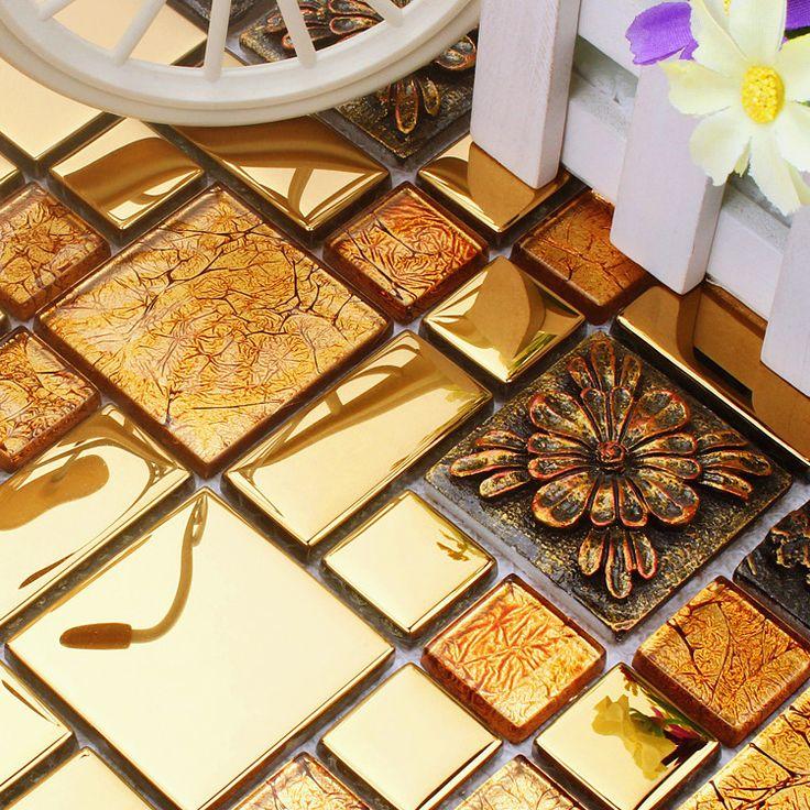 Barato Telhas de mosaico de vidro de aço inoxidável de ouro resina HMGM1080A para piso de mosaico azulejos da parede da cozinha backsplash frete grátis, Compro Qualidade Adesivos de parede diretamente de fornecedores da China:   golden resin stainless steel glass mosaic tiles HMGM1080A for backsplash kitchen wall floor mosaic tiles free sh