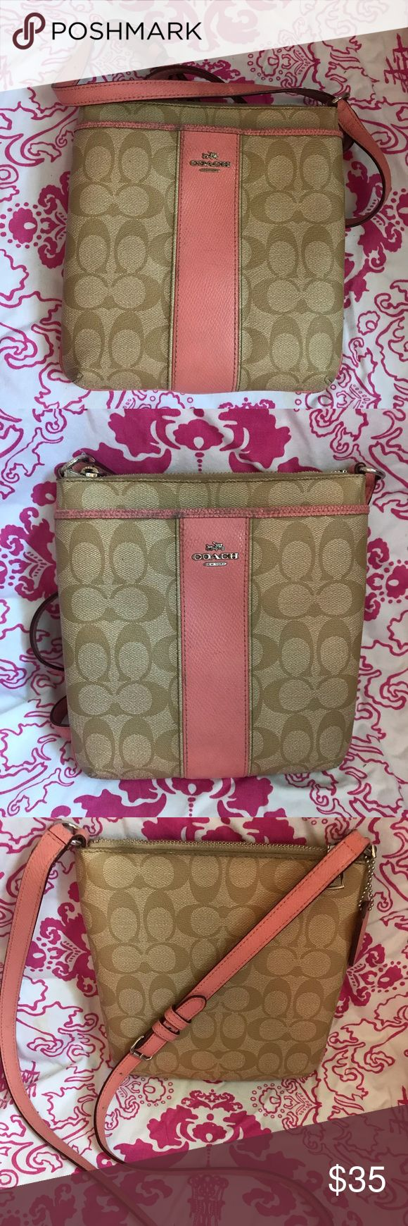 Pink and tan Coach Satchel Pink Coach Satchel, there is a little ware on the strap but still in pretty good condition.  Coach Bags Satchels