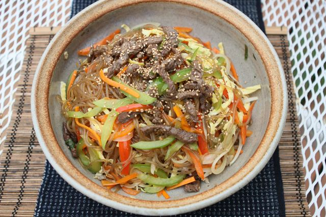 Japchae is one of the more well known Korean dishes and we've had quite a few requests for this dish, so here it is.   Japchae is not really...
