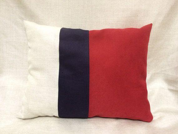 Cuscino a righe-cotone naturale- tappezzeria- cuscino PEZZO UNICO - rosso viola bianco antico- Ecodesign -divano -salotto-cuscino rettangolo by EcoMoods EcoMoods