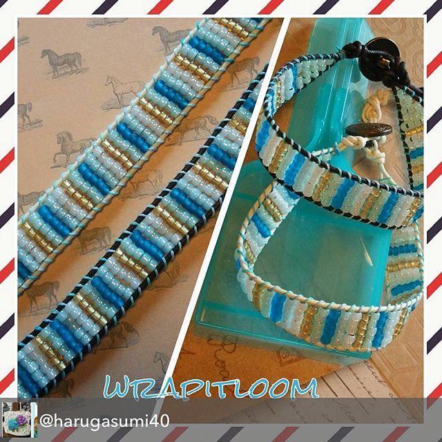 Fabulous Wrapit Loom Bracelets by @harugasumi40  Repost from @harugasumi40 - 丸大ビーズ5色を使って。外側の紐を白と茶色の2色作って見ました♪\n並べると少し印象が違うかな。\n\n#wrapitloom#wrapitloombracelet #official_rainbowloom #ラピットルーム #ラピットルームブレスレット #レインボールームジャパン #ビーズ#ラップブレスレット#ハンドメイドアクセサリー