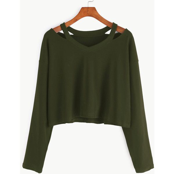 Army Green Cut Out Neck T-shirt (23 BRL) ❤ liked on Polyvore featuring tops, t-shirts, army green, long-sleeve crop tops, long sleeve t shirts, crop top, longsleeve t shirts and olive green tee
