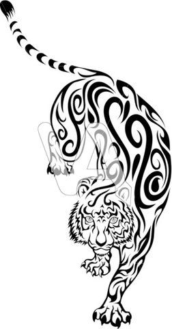 chinese tribal tattoo tiger | Vector Graphics of Tribal Tiger Tattoo Illustration