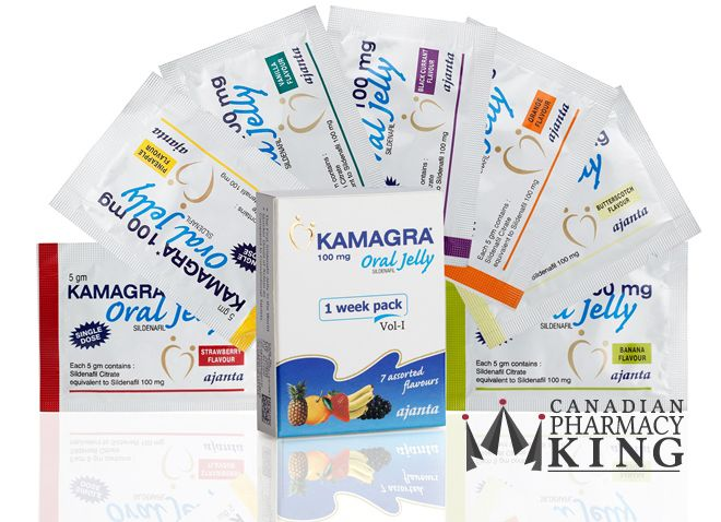Kamagra Jelly 1 Week Pack (7 Assorted Flavour Sachets) 100 mg is available at Canadian Pharmacy King. It is a jelly format of Sildenafil - generic Viagra. A prescription is required.