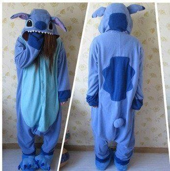 Designer Kawaii Anime Animal Blue Lilo Stitch Pajamas Adult Unisex Women Men Onesie Polyester Polar Fleece One Piece Sleepwear = 1958441220