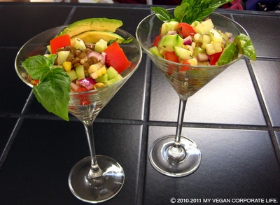 I really like the martini glass presentation  for Danie's Summer Lentil Salad!