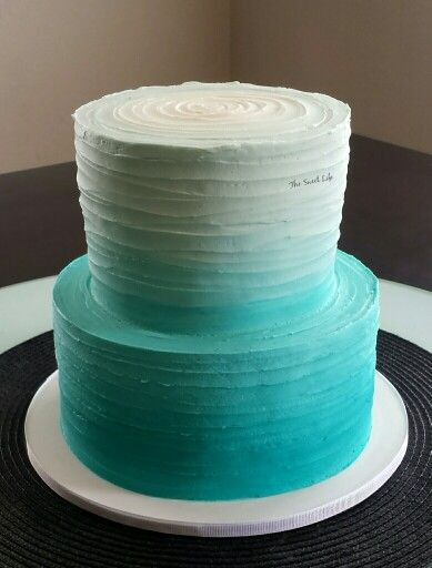 Teal ombre cake