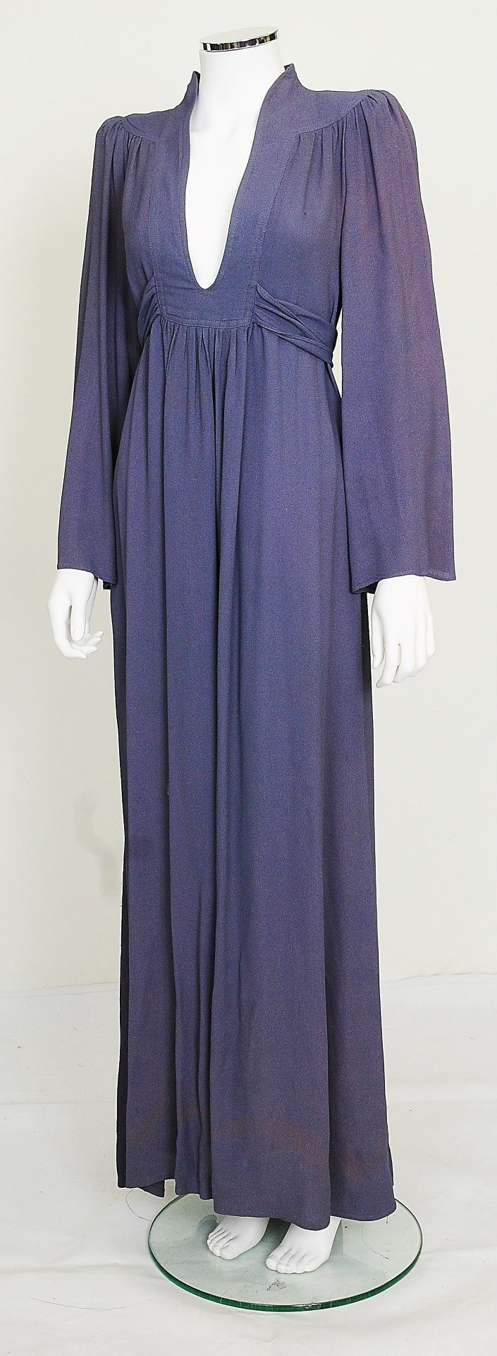 A mid 1970s dusty blue coloured Ossie Clark for Radley moss crepe dress