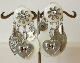 Clip Oorbellen Lionel (CO-CC-66) - Mooie wit met zilverkleurige clip oorbellen met hangers/bedels: Statementpieces.nl #oorclips, #clipoorbellen