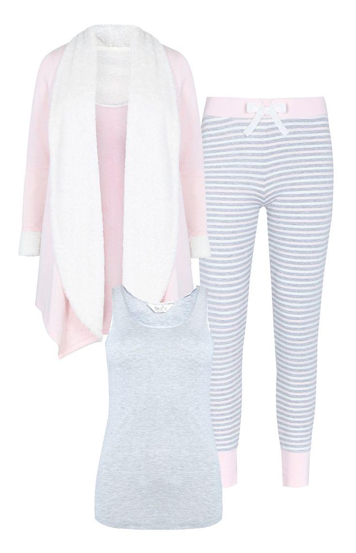 Pijama 3 peças cinzento e rosa