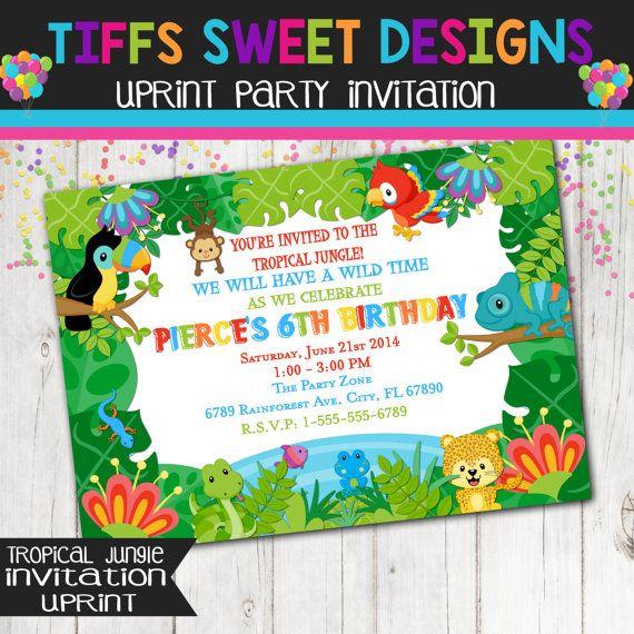 Rain forest Tropical  Jungle Invitation  by TiffsSweetDesigns