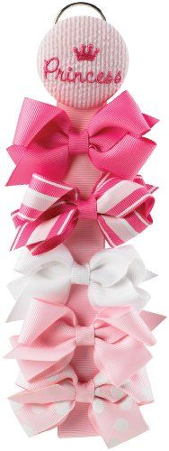 Mud Pie Baby Little Princess Hair Bows with Holder, Pink, Set of 5