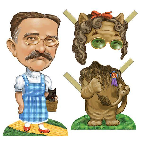 """L. Frank Baum (1856-1919), autor de """"O Mágico de Oz"""", nos trajes de Dorothy, pode ser fantasiado de Leão Covarde"""