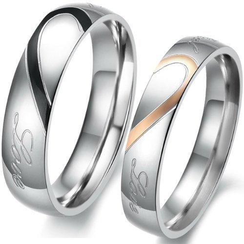 Oferta: 3.59€ Dto: -64%. Comprar Ofertas de JewelryWe - Par de alianzas de boda originales acero inoxidable corazón. Dorado, negro, plateado. Incluye bolsa de regalo barato. ¡Mira las ofertas!