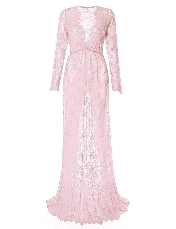 17bc3b95d98 Saslax Maternity Sexy Deep V-Neck Long Sleeve Lace See-Through Maxi Dress  for