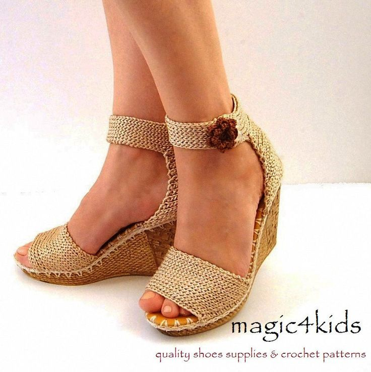 Crochet sandals : Beautiful wedges sandals - crochet sandals, made to order by magic4kids on Etsy