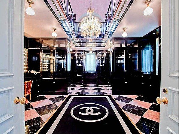 two-story chanel closet with a built in beauty salon...a girl can dream