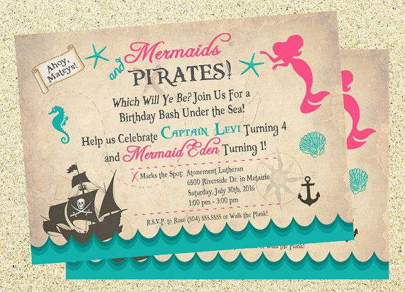 Mermaid, Pirate, Mermaids & Pirates Invitation, Mermaids and Pirates Birthday Invitation, Twins Birthday, Joint Birthday, Digital Printable