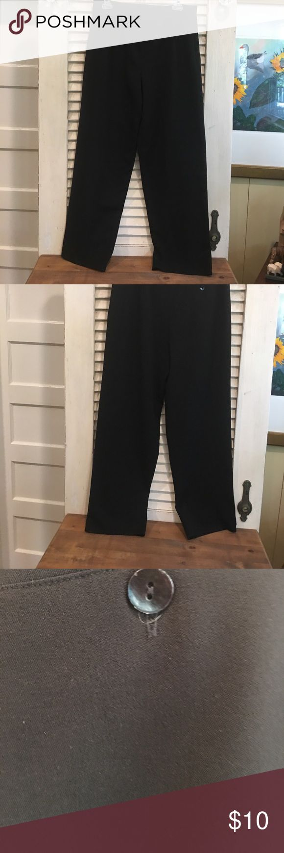 "Ladies Chicos size one dress pants Ladies Chicos size 1 dress pants,  color is black, inseam is 28 inches, bottom of the pant leg is 9""wide, in good used condition. Has hidden side zipper Chicos Pants Trousers"