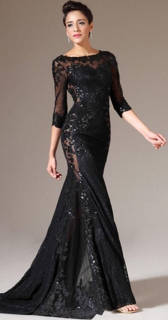 30 Black Long Sleeve Wedding Dresses Ideas Black Lace Dress Long Evening Gowns Black Lace Evening Dress