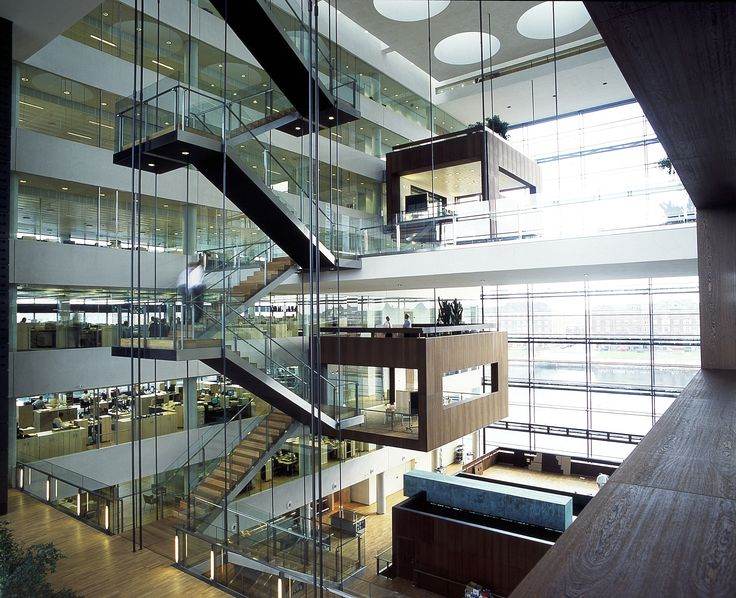 design of office building. office space with open atrium work pods external stair multi height hammer schmidt design of building