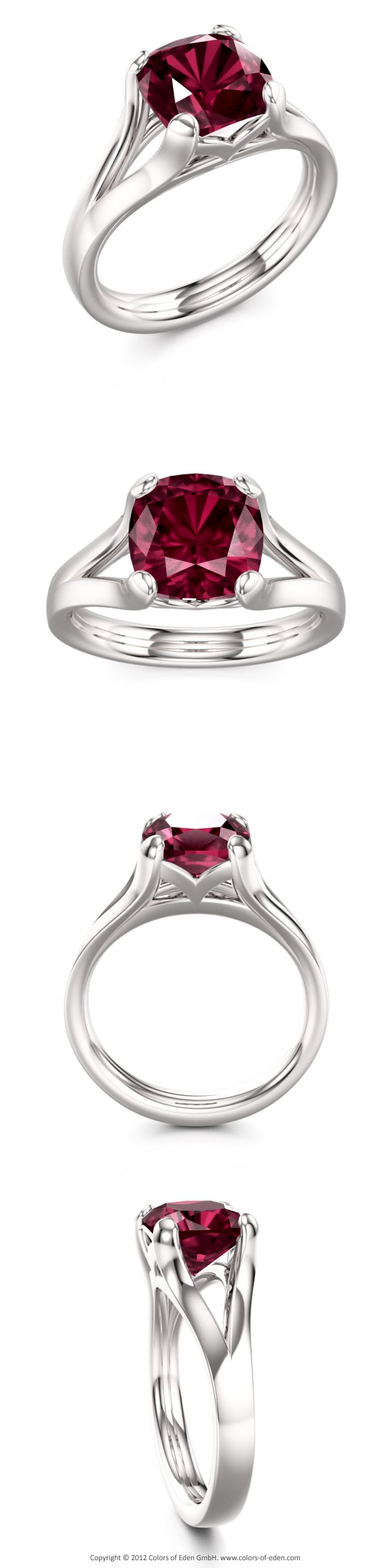 Rhodolite Garnet Engagement Ring
