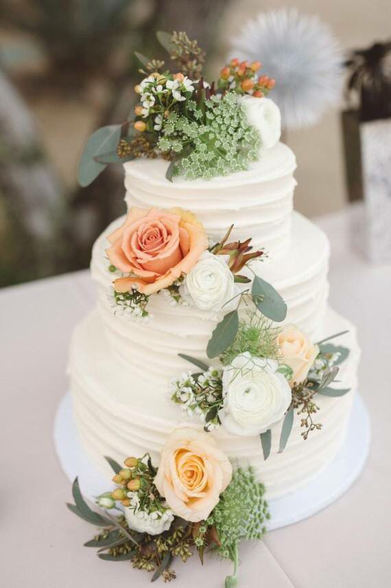 Pastel colored wedding cake