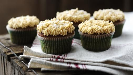 BBC Food - Recipes - Gingerbread cupcakes with salted caramel icing