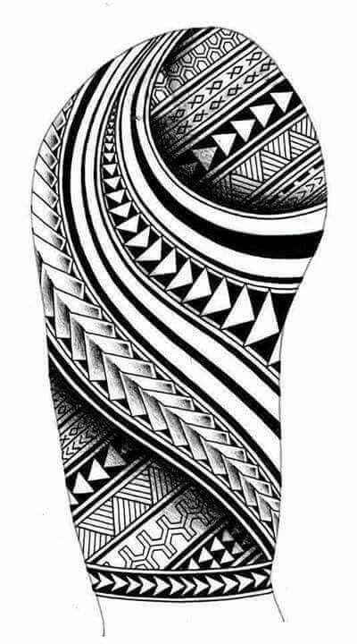 Samoan Inspired Sleeve Tattoo Design With Maori Koru