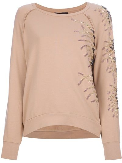 JO NO FUI Bead Embellished Sweatshirt