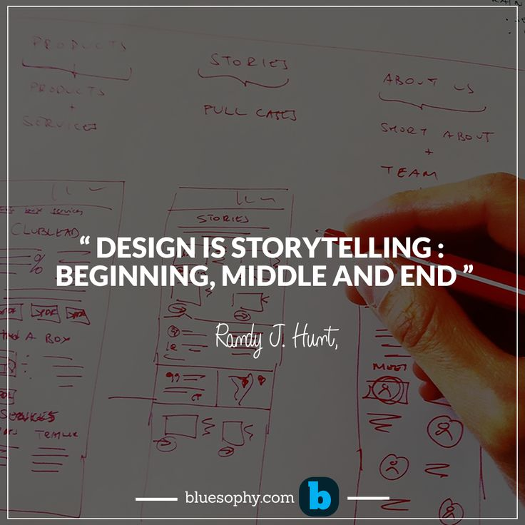 """"""" Design is storytelling : beginning, middle and end """"-Randy J. Hunt  #Design #Bluesophy #innovation #business #quotes #Productdevelopment"""