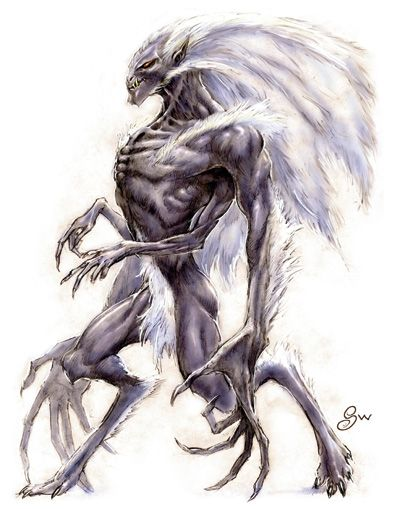 The Wendigo: malevolent and cannibalistic creatures. Human beings will transform into Wendigos if they perform cannibalism. Once transformed, the individual will become violent and obsessed with eating human flesh. These monsters are the embodiments of gluttony, greed, and excess. They have been classified as giants and upon transformation the human will grow considerably in size. They populate rural and highly forested, mountainous regions.