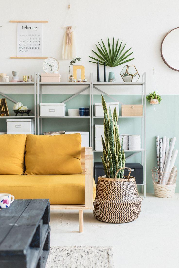 Diy Holz Sofa Senfgelb Wohnzimmerentwurfe Wohnzimmer Bunt Wohnen