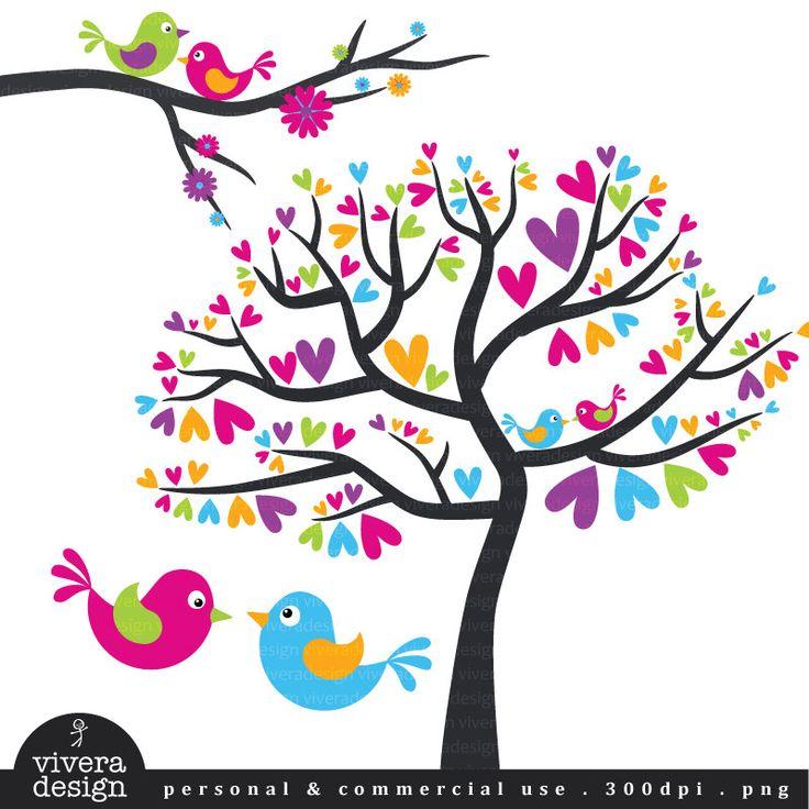 Digital Clip Art - Love Birds - Lollipop Love - Cheerful Pink, Purple, Blue, Orange, and Green. $5.00, via Etsy.