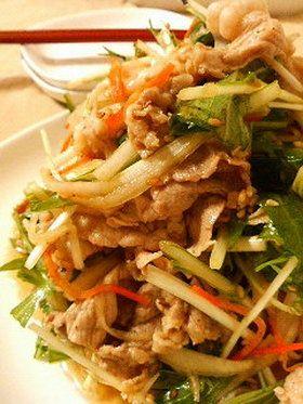 豚しゃぶと水菜の中華和え