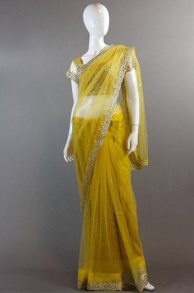 Yellow Crystal Saree