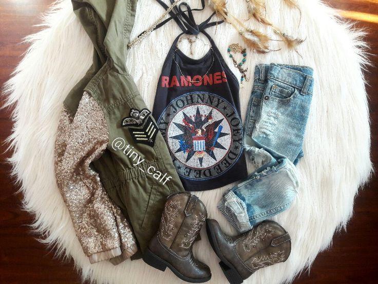 Baby/toddler fall fashion. Fall outfits. Boho. Bohemian. Boho baby. Rocker baby. Ramones. Boots.