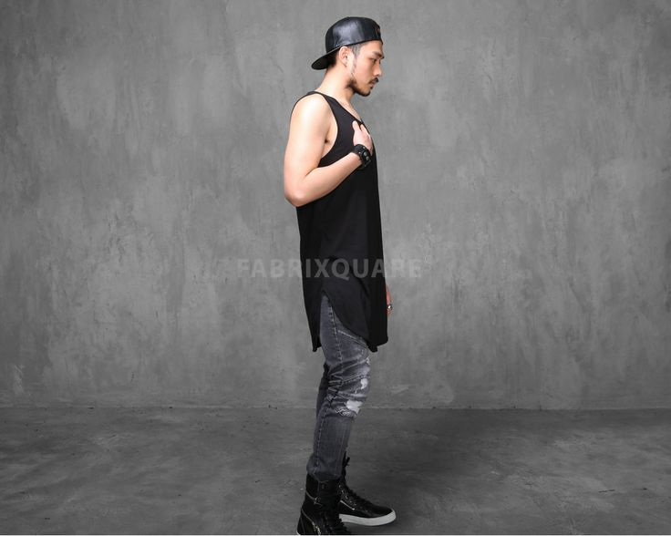 Mens Mega Extended Silky Long Tank Top - 90cm at Fabrixquare $22