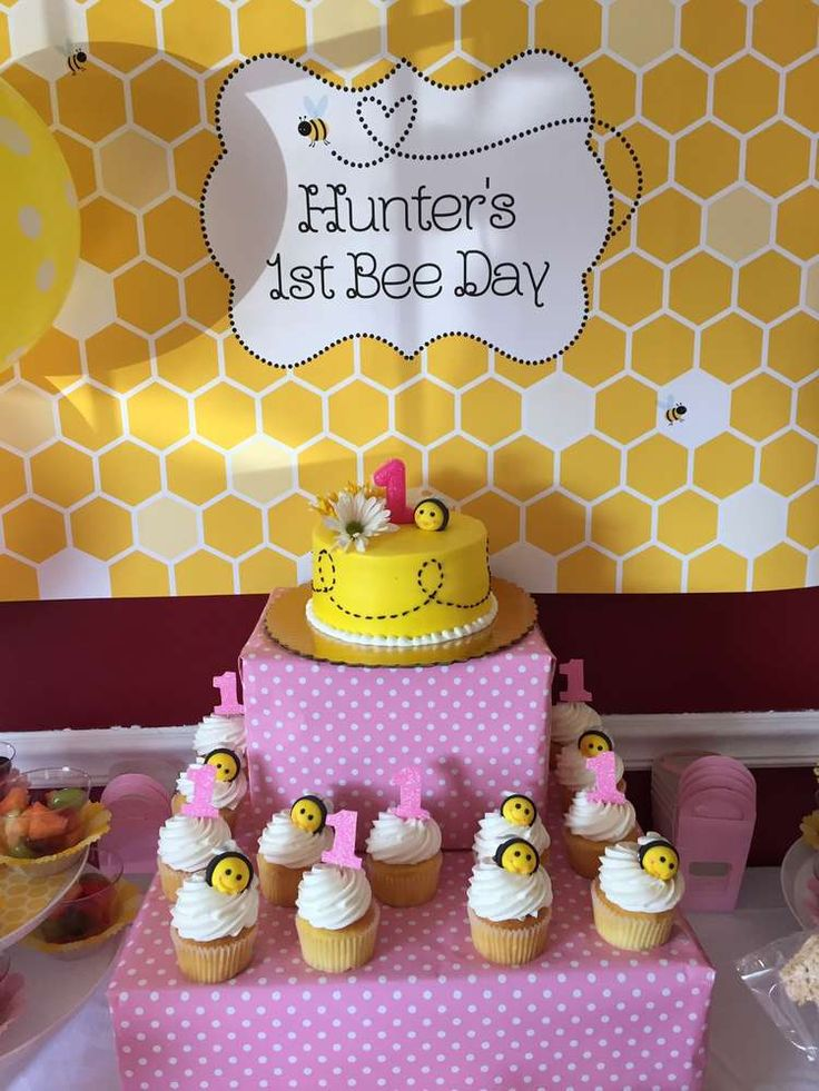 Cute cake and cupcakes at a bumble bee birthday party! See more party planning ideas at CatchMyParty.com!