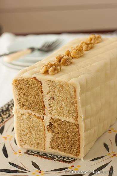 Battenburg Cake - a variation on the traditional yellow/pink cake with apricot filling (ick) - this one is walnut and coffee flavored. I think I could come up with something fall-ish without the coffee; looks so cool!
