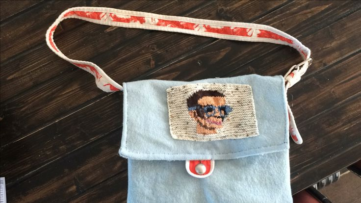 """Brains bag made from old blanket with knitted """"Brains from Thunderbirds"""" motif."""