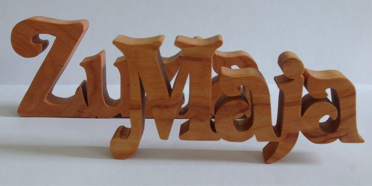 Napis z olchy po impregnacji olejem Inscription of alder