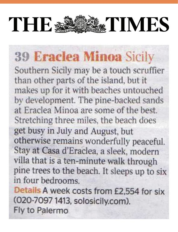 Our amazing villa Casa D'Eraclea gets its first article on The Times thanks to Eraclea Minoa's beach being one of the 50 Secret Beaches of the Mediterranean sea! #EracleaMinoa #Sicily #Beach